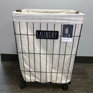 Rae Dunn Large Rolling Laundry Basket